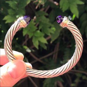 David Yurman 7mm Cable Cuff w/ Amethyst & 14K Gold